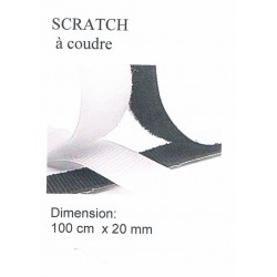 Scratch à coudre 1 mètre NOIR 20mm