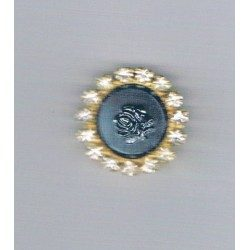 Button metal black with rhinestone 25mm