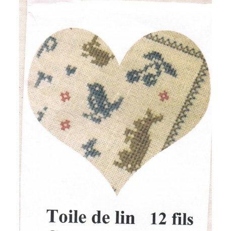 Toile de lin, ecru, 12 fils, 45 cm x 40 cm