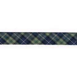 Ruban Biais fantaisie 20mm écossais marine